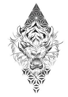 Tiger Tattoo Design, Tattoo Design Drawings, Tattoo Sleeve Designs, Tattoo Sketches, Tattoo Designs Men, Lion Tattoo Sleeves, Sleeve Tattoos, Tattoo Main, Tigh Tattoo