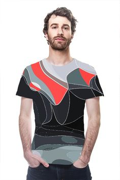 Abstract Waves... #Abstract design in a red and black color combination. A #digital #landscape to wear... All Over Printed #Art #Fashion #TShirt by #OArtTee... #tshirt #oarttee #digitalartcreations #tee #printallover