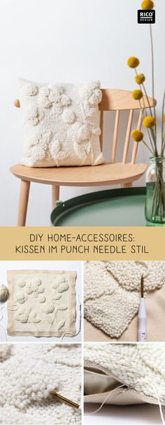 embroidery technique: customize Punch Needle pillow DIY Home Accessories: Stick with the great technology Punch Needle can be creative and individually Punch Needle Set, Punch Needle Patterns, Needle Cushion, Diy Cushion, Diy Wanddekorationen, Diy Trend, Diy Home Accessories, Art Du Fil, Rico Design