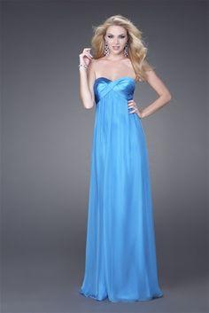 Column Simple Sweetheart Neckline Backless Blue Satin Floor Length Evening Dress