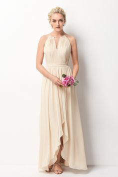 Shop the Wtoo 209 bridesmaid dress! A pleated bodice and a self-tie sash add texture and beauty to this sleeveless A-line halter gown in soft chiffon. Cheap Bridesmaid Dresses Online, Pink Bridesmaid Dresses, Affordable Dresses, Bridesmaids, Bridesmaid Ideas, Luxury Wedding Dress, Wedding Dresses, Bridal And Formal, Evening Dresses