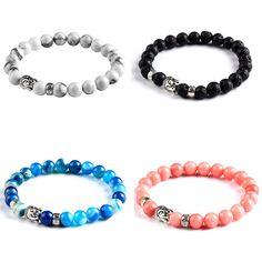Cherry Quartz Tiger Eye Buddha Bracelets Bangles  Natural Stone Bracelet For Women Men Jewelry 2017 Boho Pulseras