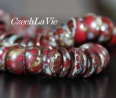 Czech Concavade Piggy Beads Opaque Red with Picasso by CzechLaVie, $2.25