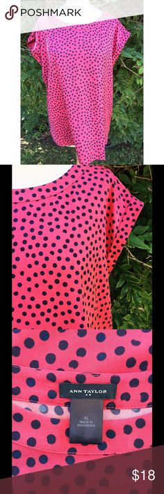 Ann Taylor Pink & Navy Dot Blouse NWOT. Excellent condition. Never worn. Comes from a smoke- and pet-free house. Bundle for additional savings! Ann Taylor Tops Blouses