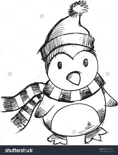 Sketchy Christmas Penguin Vector Illustration - 33241045 : Shutterstock