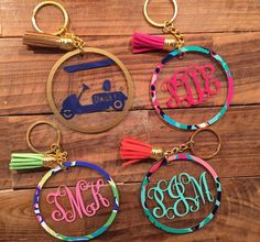 Lilly Pulitzer Inspired Custom Key Chains with Vine by LalusVinyl