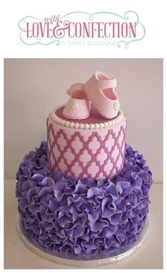 Purple ruffles, pink lattice design, white pearls & pink baby shoes as Girl Shower Cake, Baby Shower Sweets, Baby Shower Cakes, Pretty Cakes, Beautiful Cakes, Amazing Cakes, Cupcakes, Cupcake Cakes, Fantasy Cake