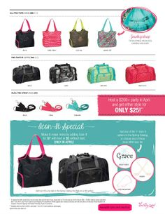 Baseball, soccer, swimming, cheer, the gym,... It's that time of year again & April is the perfect month with two exclusive styles made for active lifestyles.  Personalize them with a name and/or an icon.  These bags are only available this month, so hurry & get yours at www.mythirtyone.com/KarenOlson.  Join my closed Facebook group, Karen's 30-Onederful Bags & More -  https://www.facebook.com/groups/564401420280519/, for more specials & giveaways.