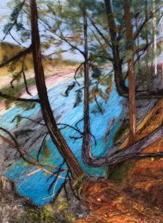Needle felted landscape picture Jay Cooke state park in Minnesota