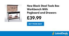 New Black Steel Tools Box Workbench With Pegboard and Drawers Save £60, £39.99 at ebay