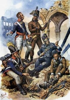 """Portuguese troops - Aleksandr Yezhov. The British sent an army under Wellington to fight against Napoleon after Spain and Portugal were invaded. It became known as the Peninsular War. To Napoleon, it became the """"Spanish ulcer"""". The conflict on the Peninsula would last over seven years, until 1814."""