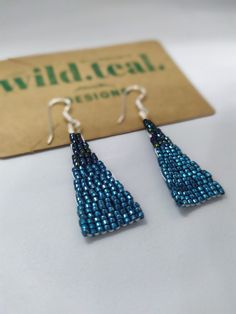 Hand-made, designed and beaded by myself using only the finest Japanese glass delica beads and nylon thread.. with love & care. Fringe Earrings, Blue Earrings, Beaded Earrings, Native Beadwork, Native American Beadwork, Bead Weaving, Beautiful Earrings, Hand Stitching, Unique Jewelry