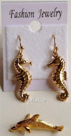 Gold Seahorse Dolphin Earrings Pin Lot of 2 Set Nautical Beach Shells USA Seller #DaVinci #DropDangle
