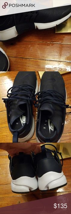 Nike leather presto Navy blue leather.  Worn twice .. excellent condition Nike Shoes Sneakers