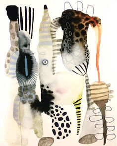 Love the multi prints Watercolor Paintings by Emma Larsson from Stockholm, Sweden. Illustration Photo, Watercolor Illustration, Illustrations, Abstract Watercolor Art, Guache, Motif Floral, Art Sketchbook, Ink Art, Collage Art