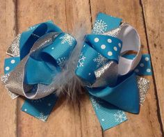 Snow inspired snowflakes boutique hair bow with by BBgiftsandmore