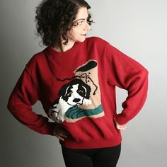 Vintage sweater; and I like her hair!