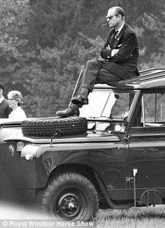 Royal Windsor Horse Show.Meet my husband: The Duke of Edinburgh views the show from an unusual spot in 1977 Elizabeth Philip, Queen Elizabeth, Richard Hamilton, Prinz Philip, Land Rover Models, Edinburgh, Jaguar Land Rover, Nissan Patrol, Royals