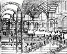 Pennsylvania+Station, NYC - Drawing of the concourse and tracks, published in the New York Times in 1906.