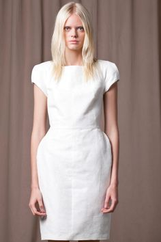 Structured satin and cotton mix dress with puff sleeves and back metallic zip detail