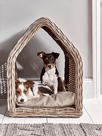 Crafted from rustic round rattan in a simple, sweet house shape, our small pet bed will make the perfect retreat for your furry friend. Each house comes with a cosy cushion - with a removable, washable cover - for comfy post-walk naps and daytime snooz
