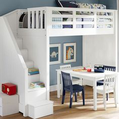 Bunk beds are great for siblings and sleepovers. Shop Pottery Barn Kids' bunk beds and loft beds for kids with functional and sturdy styles. Cool Bunk Beds, Bunk Beds With Stairs, Kids Bunk Beds, Loft Beds, Bed Stairs, Pottery Barn Kids, Loft Spaces, Small Spaces, Bed Mattress
