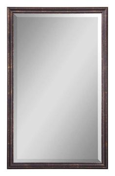 Uttermost 14442 B Renzo Vanity Beveled Mirror with Distressed Bronze Frame Distressed Bronze With Gold Leaf Highlights. Home Decor Mirrors Lighting