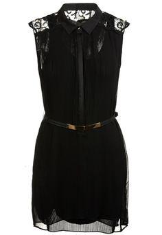 Black Contrast Lace Shoulder Belt Pleated Dress - Sheinside.com