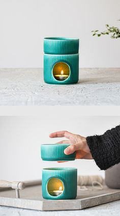 A modern ceramic essential oil burner finished with stripes texture and turquoise matte glaze. This burner made from two pieces: one vessel for placing the candle and one little bowl for placing water and essential oils. Ceramic Oil Burner, Ceramic Bowls, Ceramic Art, Pottery Bowls, Ceramic Pottery, Pottery Art, Ceramic Oil Diffuser, Essential Oil Burner, Essential Oils