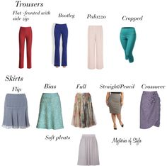 Skirts and trousers for full hourglass body shape
