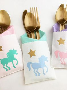 Unicorn Cutlery Bags - Set of 24 These beautiful unicorn cutlery bags will perfectly compliment your unicorn party decor, adding a beautiful pastel rainbow of colors. Consider placing in a fun basket for guests to grab at the food table, or adorn each place setting at the table. They are