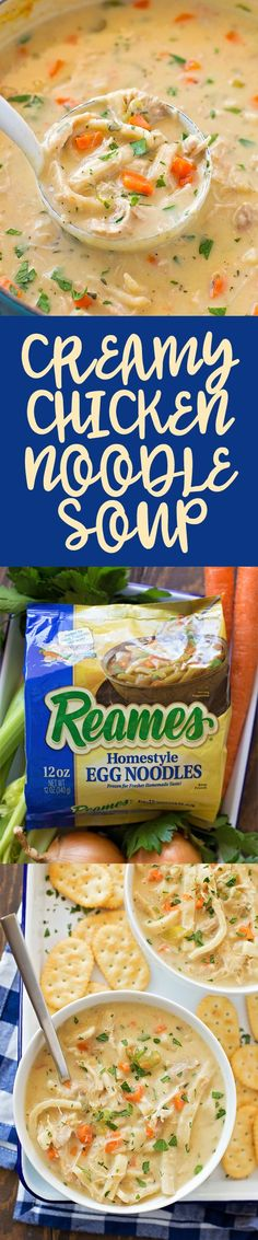 Creamy Chicken Noodle Soup made with homestyle egg noodles. #ad #Reames #homemadegoodness