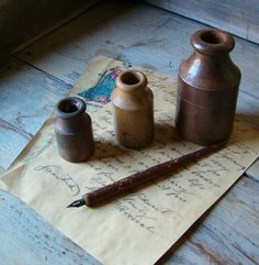 My old stoneware inks. Antique & vintage collectibles on Ruby Lane… Objets Antiques, Stoneware Crocks, Handwritten Letters, Primitive Antiques, Old Bottles, Glazes For Pottery, Letter Writing, Writing Instruments, Retro