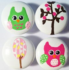 Shop for on Etsy, the place to express your creativity through the buying and selling of handmade and vintage goods. Drawer Pulls, Drawer Knobs, Brown Decor, Crib Bedding, Girls Bedroom, Owls, Cribs, Hot Pink, Drawers
