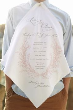 40 Personal DIY Details From Real Weddings (Menu screen-printed on napkins (with button holes!) by a friend of the couple. Wedding Menu, Wedding Stationary, Garden Wedding, Wedding Favors, Wedding Planner, Wedding Day, Wedding Souvenir, Wedding Bells, Wedding Picnic
