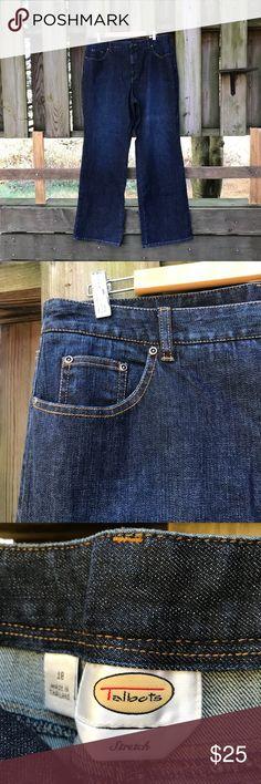 """NWT Talbots Flare Leg Dark Wash Jeans Size 18. Sits slightly below natural waist. Stretch denim in dark indigo. 5 pocket detailing. Cotton, spandex. 36"""" waist, 33"""" inseam. NWT $58 Talbots Jeans Flare & Wide Leg"""