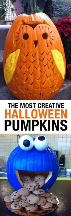The Most Creative Halloween Pumpkins Ever Seen! Whether you enjoy carving or painting best, you'll love these inspiring ideas for your Halloween Pumpkins! Disney ideas, animal carvings and more. Pumpkin carving disney The Most Creative Halloween Pumpkins Disney Halloween, Fete Halloween, Halloween Cupcakes, Holidays Halloween, Halloween Treats, Halloween Pumpkins, Happy Halloween, Halloween Decorations, Halloween Witches