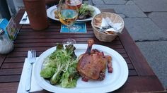 Duck and salad with wine in a French restaurant in Berlin #Berlin #internationalised #Germany