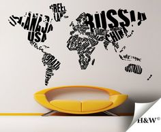 Amazon world map in typography wall decal stickers decor lettering world map home decor wall decals by homewall on etsy 16100 gumiabroncs Images