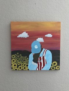 Tyler the Creator Original Poster Simple Canvas Paintings, Small Canvas Art, Easy Canvas Painting, Mini Canvas Art, Trippy Painting, Cartoon Painting, Painting & Drawing, Kanvas Art, Record Art