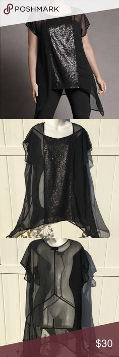 Chiffon Sequined Tunic By Isabel Toledo Size 18/20 Chiffon Sequined Tunic By Isabel Toledo Size 18/20. Short sleeve sheer chiffon tunic with sequined front panel and seam detail. Feel free to ask any questions :) Lane Bryant Tops