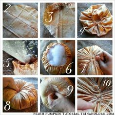 How to Make Velvet Pumpkins--steps 2-10, more on blog!