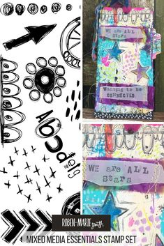 Mixed media tags made with Mixed Media Essentials Rubber Stamps by Kristi Nazzaro. #mixedmedia #rubberstamps #robenmarie @robenmarie #diy #stamping
