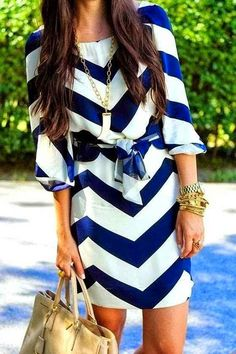 Love this take on a chevron dress! - Blue and white chevron dress Mode Outfits, Fashion Outfits, Womens Fashion, Dress Fashion, Fashion Clothes, Fashion 2015, Luxury Fashion, Fashion Ideas, Stylish Clothes