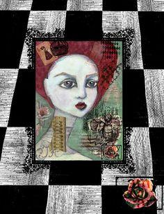 The Queen of Hearts Alice in Wonderland Art PRINT by AmyJoyArt