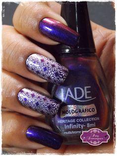 Infinity - Jade carimbado com DRK Cobogo Mini #Jade #esmaltadasdapatydomingues #colecaoheritage #drknails #carimbada