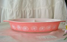 Vintage Pyrex Pink Daisy Divided Dish by cynthiasattic on Etsy, $20.00