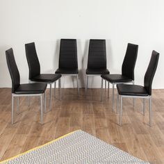 Chaise en tissu PVC avec pied métal - Lot de 6 ENORA