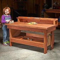 Give your child a chance to make projects on their own DIY workbench—a smaller-scale version of a classic design that's been in use for over a century.