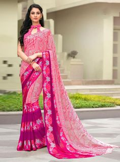 Pink Georgette Casual Wear Saree 85627